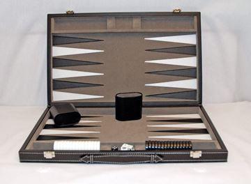 Imagen de Backgammon Attache Cuero Ecologico Negro